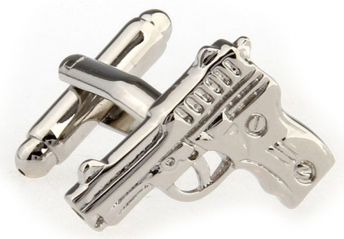 Silver Hand Gun Cufflinks