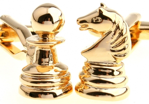 Gold Chess Pieces Cufflinks