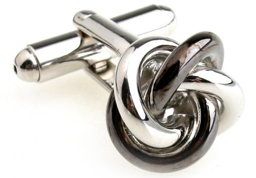 Silver and Rhodium Knot Cufflinks