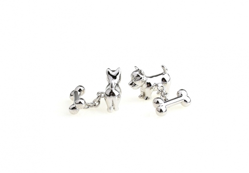 Silver Dog and Bone with Chain Cufflinks