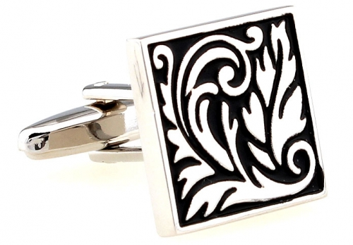Black and Silver Small Leaves Cufflinks