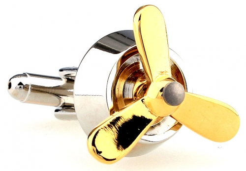 Silver and Gold Plane Propeller Cufflinks