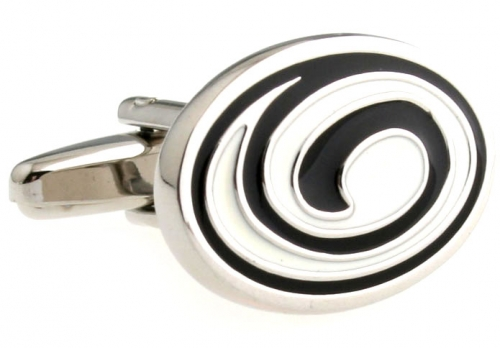 Black and White Swirl Cufflinks