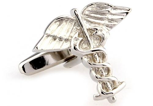 Silver Caduceus Symbol Cuffllinks