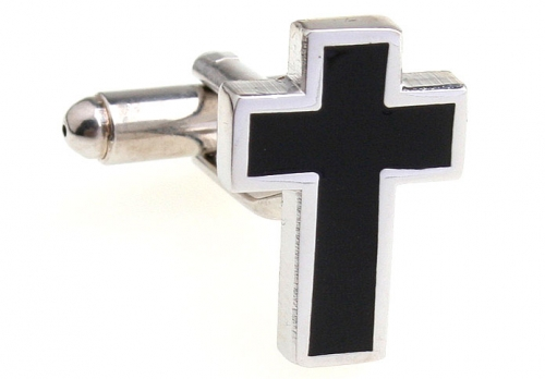 Silver and Black Cross Cufflinks
