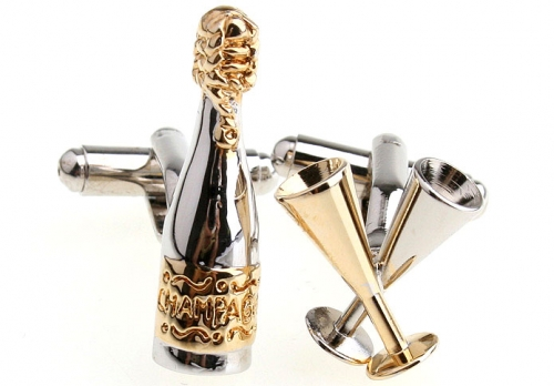 Silver and Gold Champagne and Glasses Cufflinks