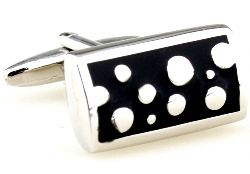 Black and Silver Bubbles Cufflinks