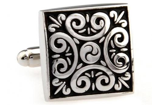 Black and Silver Ornate Cufflinks