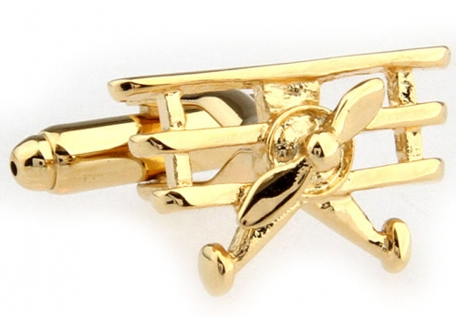 Gold Single Propellor Aeroplane Cufflinks