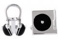 Silver and Black Headphone and Turntable Cufflinks