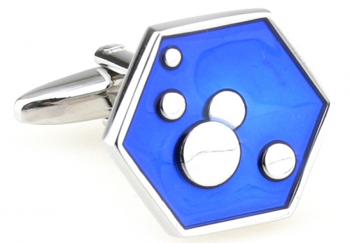 Blue Hexagon Bubble Cufflinks