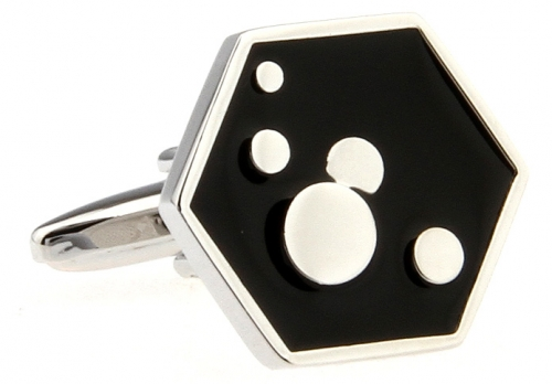 Black Hexagon Bubble Cufflinks