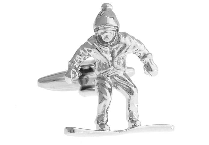 Silver Snowboarder Cufflinks