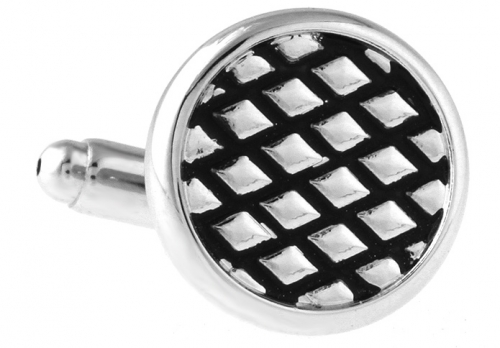 Silver Diamond Grid Cufflinks
