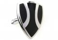 Stainless Steel and Black Enamel Shield Cufflinks