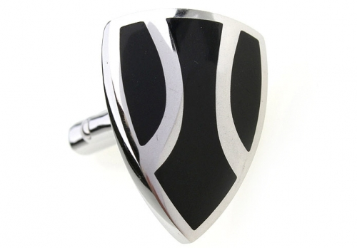 Stainless Steel and Black Enamel Shield Cufflinks