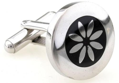 Stainless Steel and Black Enamel Flower Cufflinks