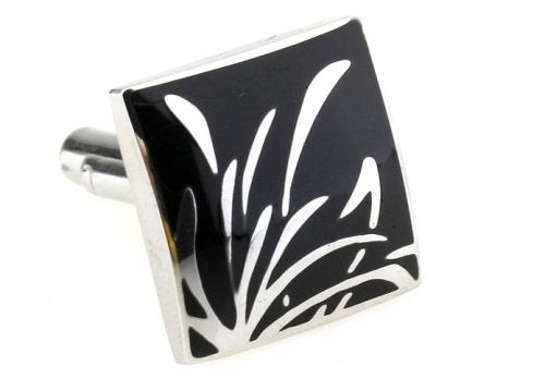 Stainless Steel and Black Enamel Reed Cufflinks