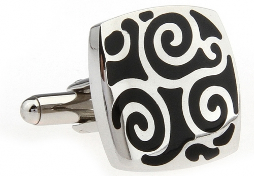 Stainless Steel and Black Enamel Swirl Cufflinks