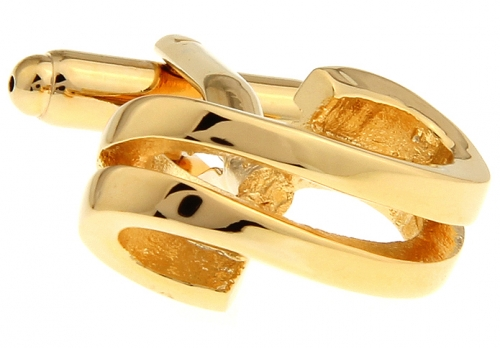 Gold Double Ribbon Cufflinks