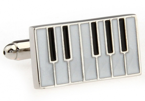 Silver Piano Keyboard Cufflinks
