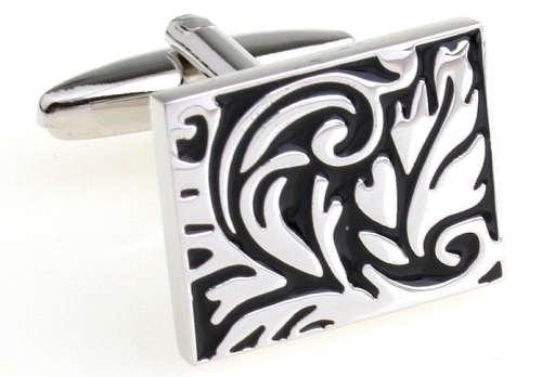 Black and Silver Rectangle Leaves Cufflinks