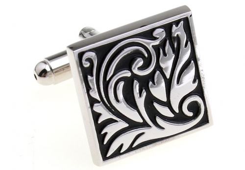 Black and Silver Large Leaves Cufflinks