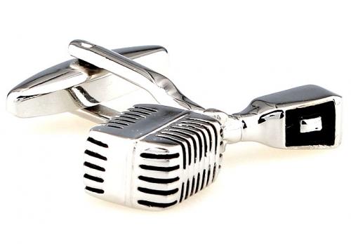 Silver Microphone Cufflinks