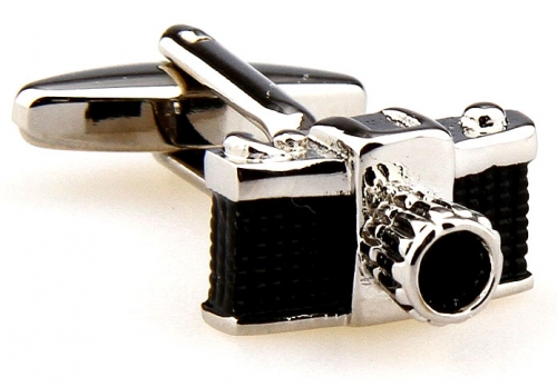 Black and Silver Camera Cufflinks