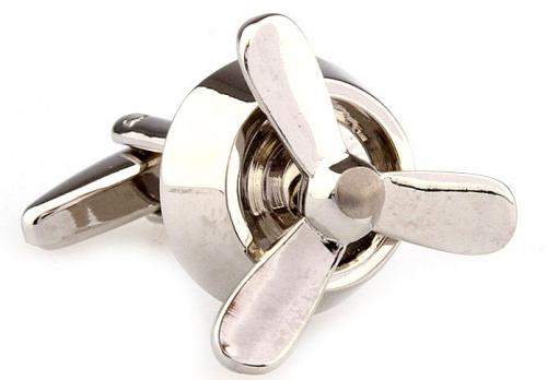 Silver Plane Propeller Cufflinks