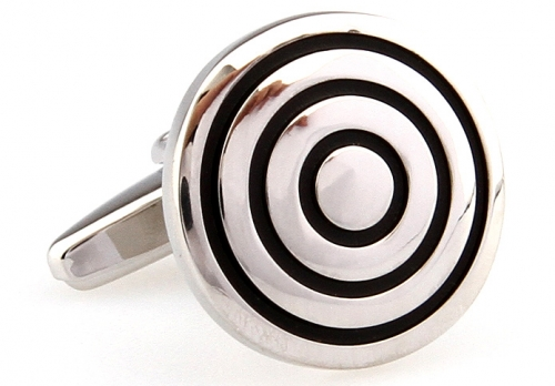 Black Concentric Circle Cufflinks