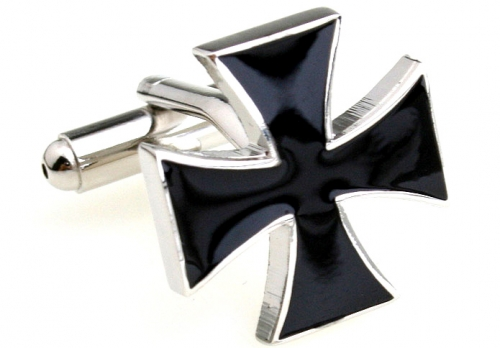 Silver and Black Iron Cross Cufflinks