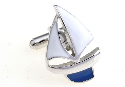 Blue and White Sail Boat Cufflinks