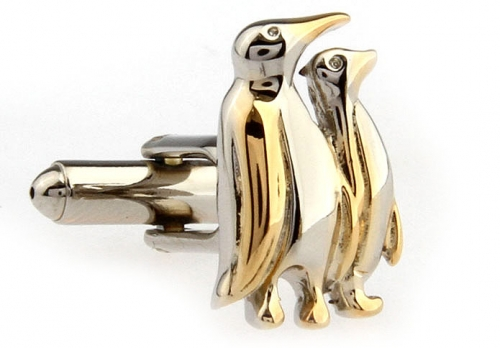Gold and Silver Penguin Pair Cufflinks