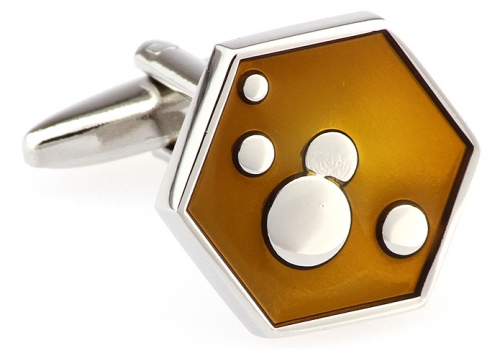Yellow Hexagon Bubble Cufflinks