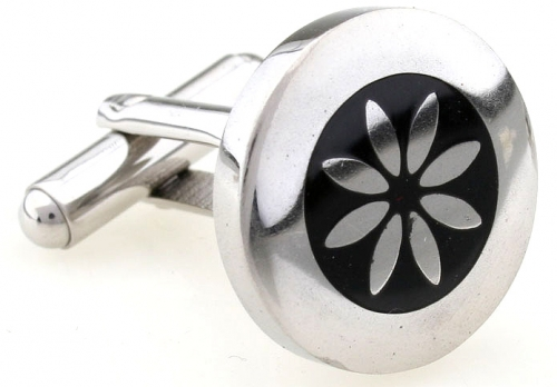 Stainless Steel and Black Enamel Flower Cufflinks