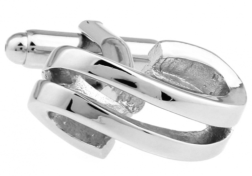 Silver Double Ribbon Cufflinks